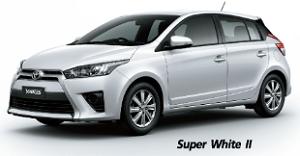Toyota Yaris สีขาว Super White II