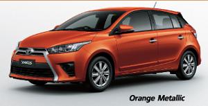 Toyota Yaris สีส้ม Orange Metallic